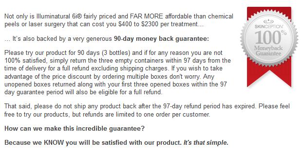 illuminatural i6 moneyback guarantee